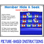 Numbers 0-120 Hide & Seek Pocket Chart Cards | Painting Theme
