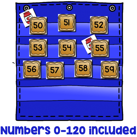 Numbers 0-120 Hide & Seek Pocket Chart Cards | Peanut Butter Theme