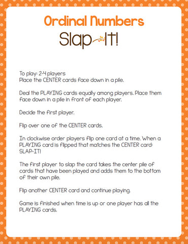 Ordinal Number Card Games: 1st-10th October Theme