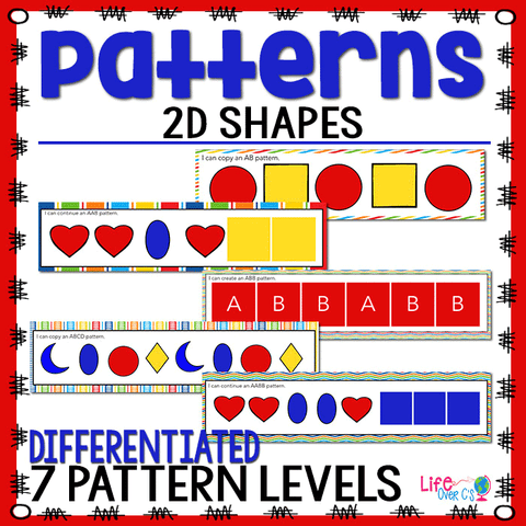 2D Shapes Pattern Pack for Math Centers
