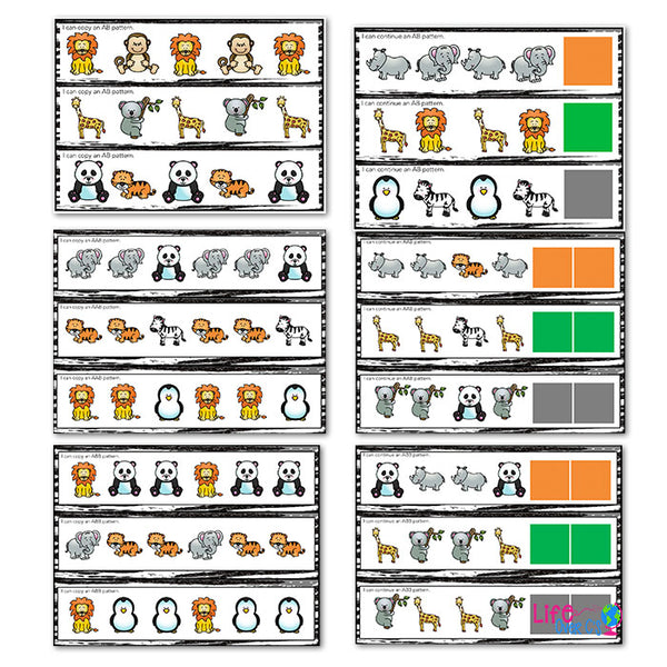 Pattern activities for kindergarten. Zoo animal themed differentiated pattern printables