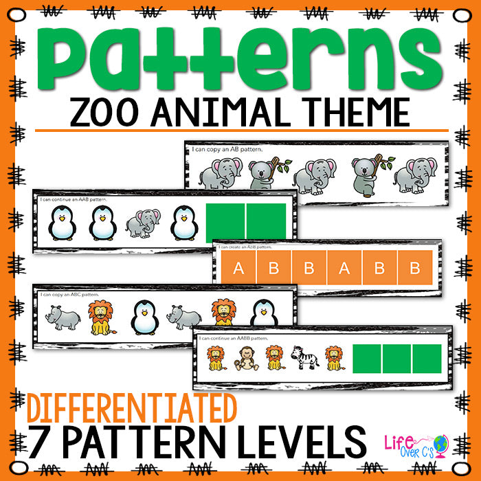 Zoo printable pattern activities for kindergarten. Zoo animal themed differentiated pattern printables