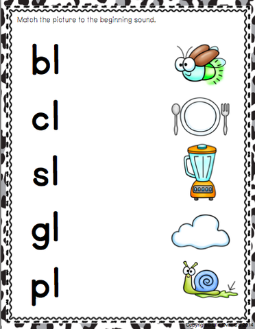 Beginning Blends Matching Mats (Digraphs Included)