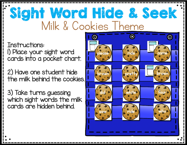Sight Word Editable Hide & Seek Pocket Chart Cards | Milk and Cookies Theme