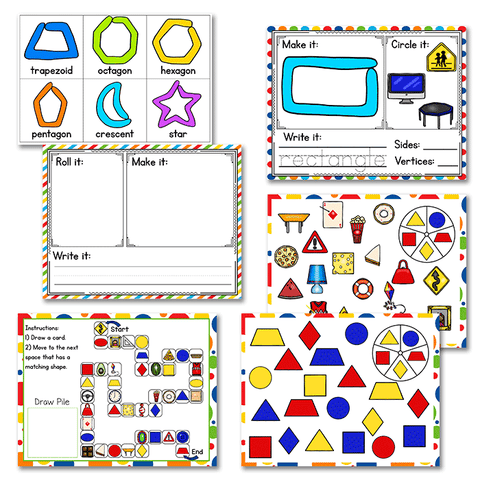 20+ 2D Shape activities MEGA bundle. Play dough, building shapes, graphing, geoboards, games and much more!