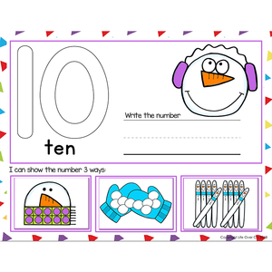 1-20 Winter Snowman Number Recognition Mats | Ten-frames, Array, Tally Marks