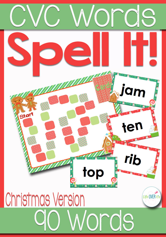 Christmas Words That Start With A.Cvc Word Families Board Game Christmas Themed