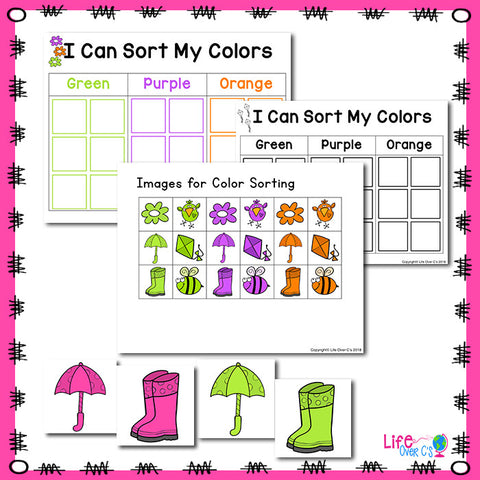 Spring Color Activities for preschoolers. Matching game, mini book, play dough, sorting and more.