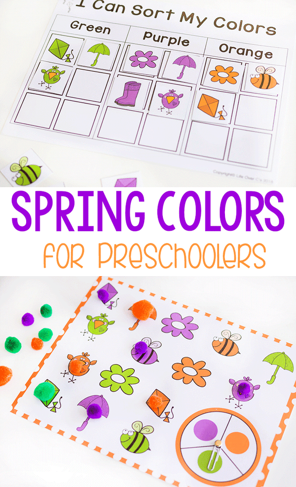 Spring color activities for preschoolers. Play games with spinners, matching, play dough and more to learn colors. #preschool #prek #colors #colortheme #matching #games #lifeovercs #iteachtoo