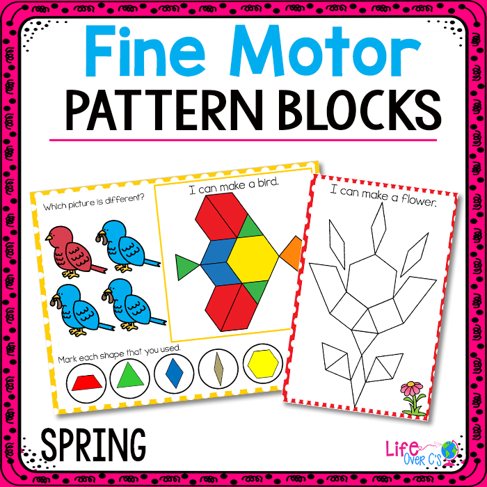 Fine Motor Mats for Spring | Pattern Blocks