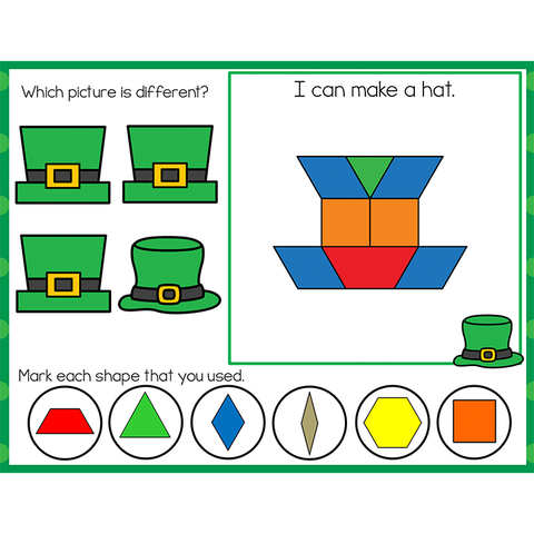Fine Motor Mats for St. Patrick's Day | Pattern Blocks