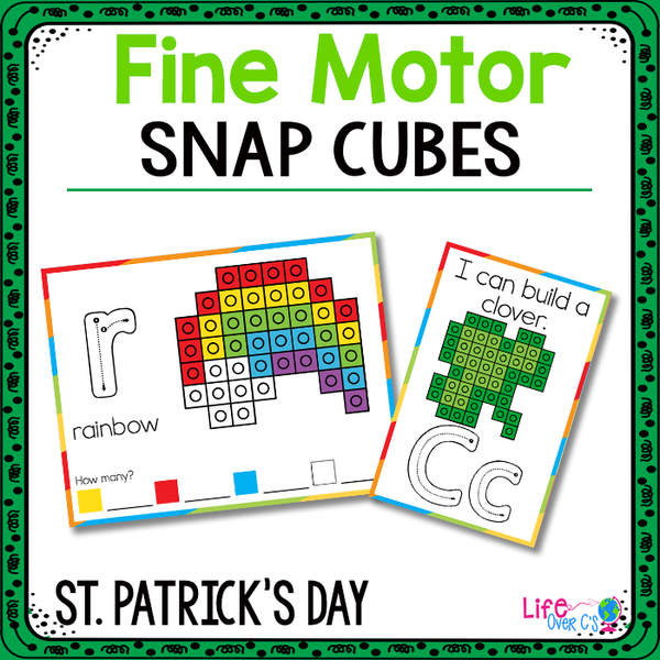 Fine Motor Mats for St. Patrick's Day | Snap Cubes