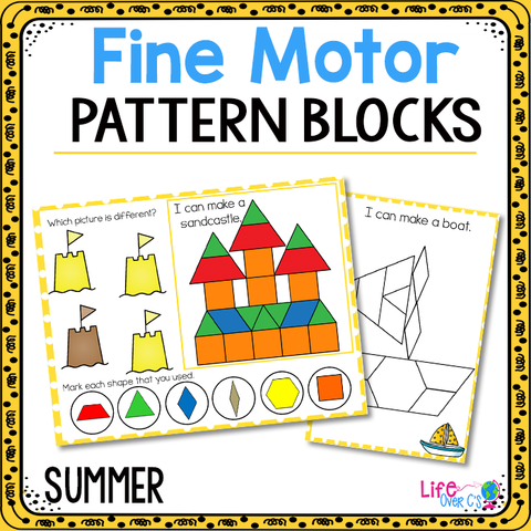 Fine Motor Mats for Summer | Pattern Blocks
