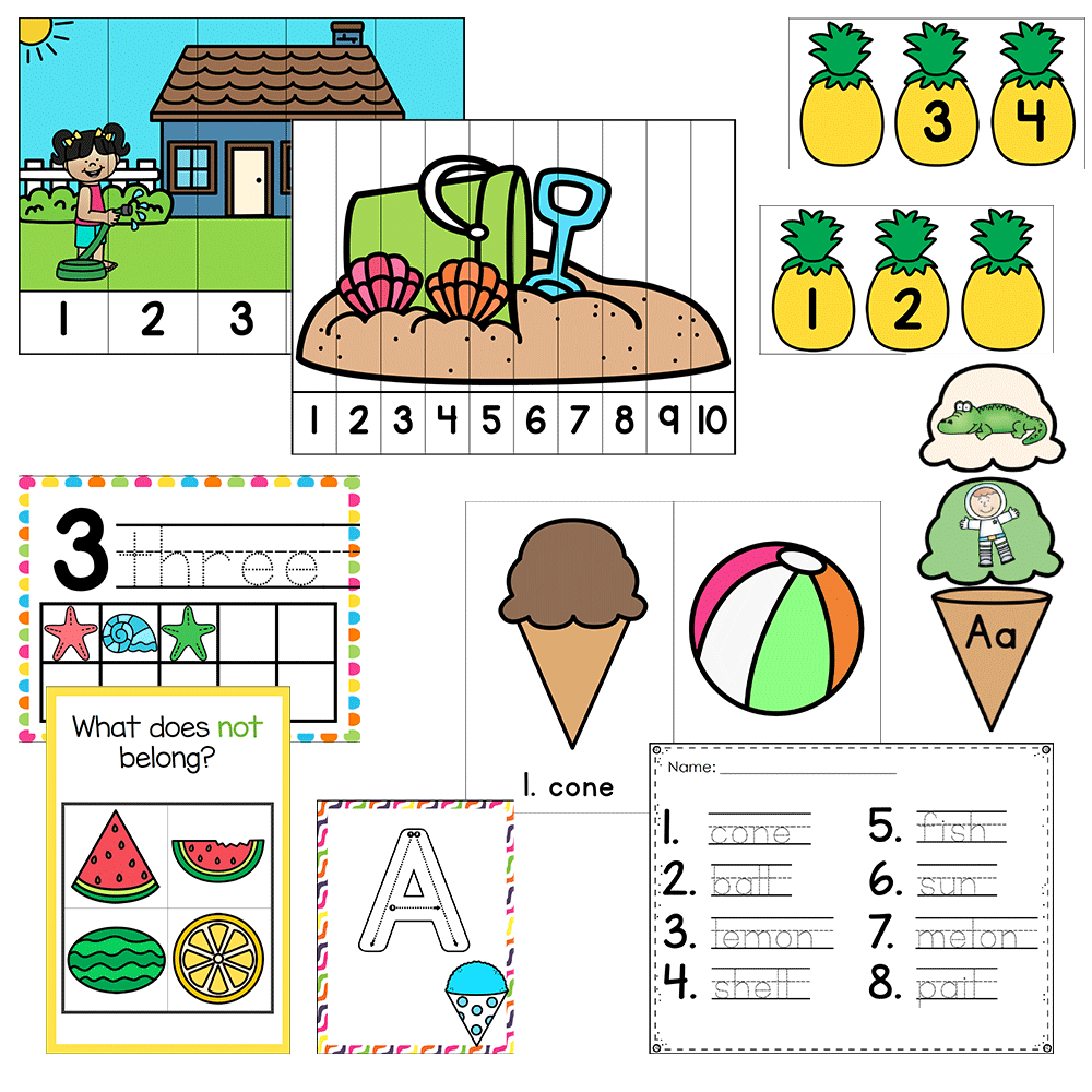 Preschool/ Pre-k Math & Literacy Centers | Summer Theme