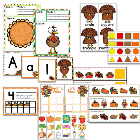 Preschool/ Pre-k Math & Literacy Centers | Thanksgiving Theme