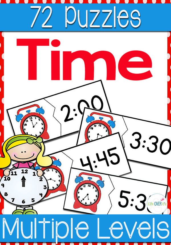 Your students will love reviewing telling time to the hour, to thirty minutes, to fifteen minutes and to five minutes with this set of time puzzles. Telling time can be a difficult task for young learners, but review will be very enjoyable two-piece puzzles!