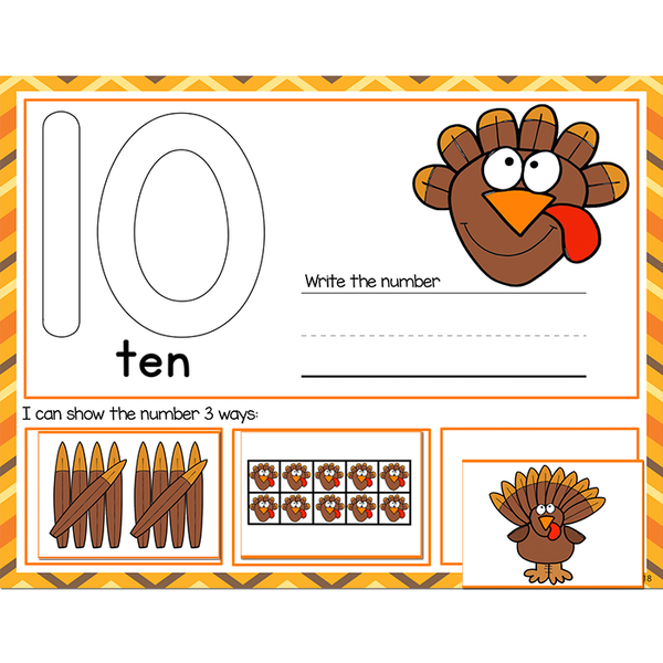 1-20 Thanksgiving Number Recognition Mats | Ten-frames, Array, Tally Marks