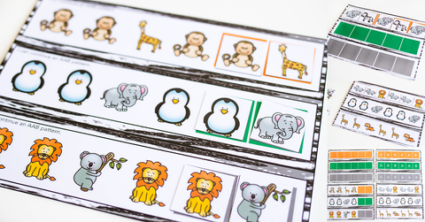 Zoo Printable Animal Pattern Set for Preschool through First Grade