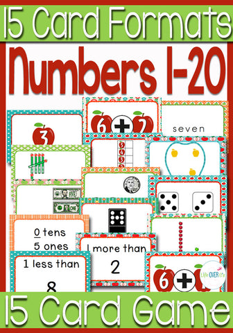 15 sets of apple themed cards for 15 card games!! WOW!! These numbers 1-20 card games are a great way to review different number formats with kids. Dice, dominos, words, addition, place value and more!