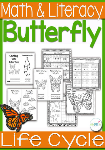 Butterfly Life-Cycle Math and Literacy Printables K-1