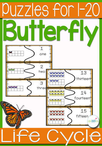 Butterfly Life-Cycle Puzzles for Numbers 1-20