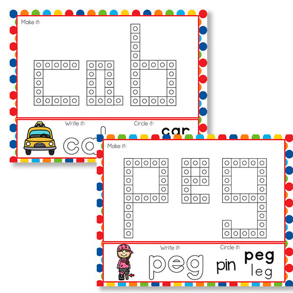 CVC Word Snap Cube Mats for kindergarten literacy centers.