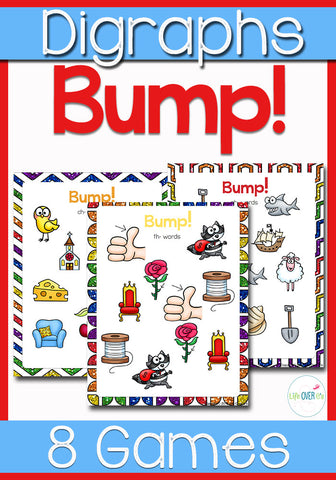 8 fun games for practicing digraphs!!! Kids will love playing these Bump! games to practice their reading skills!