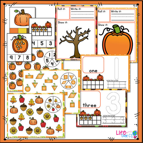 Fall Math & Literacy Centers for Pre-K/Preschool BUNDLE