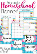 Get your homeschool organized for the year! This printable homeschool planner in beautiful watercolors comes with 99 pages to get you organized this year. Monthly, weekly, and hourly views, unit study planning, resource pages for your favorite websites and so much more!