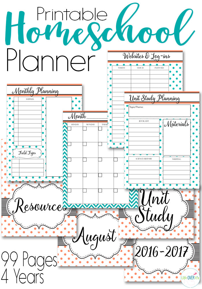 photograph regarding Printable Homeschool Planner known as Homeschool Planner Coral and Teal