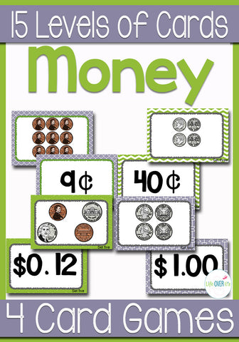 15 Sets of cards comparing values of coins and center instructions for six coin card games! Any set of cards can be used for any of the games. Change the sets of cards as your students increase in their money skills.
