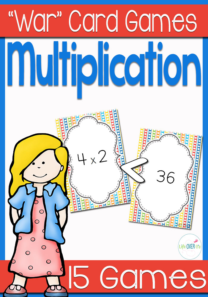 Multiplication Facts War card game makes it fun to review multiplication facts! Kids will love this partner center and get fluent with multiplication!