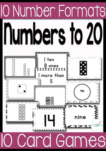 Numbers to 20 Card Games Black & White Version
