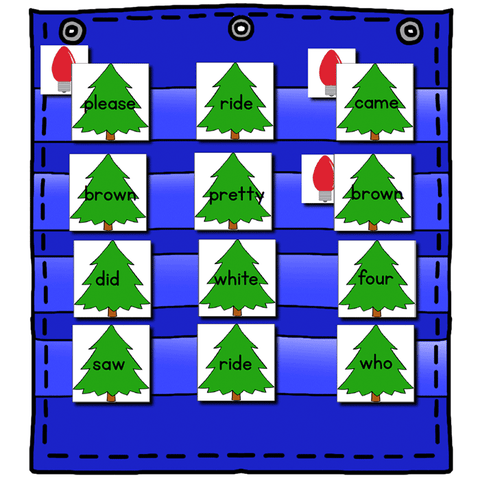 Sight Word Editable Hide & Seek Pocket Chart Cards | Christmas Tree Theme