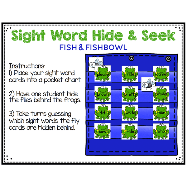 Sight Word Hide & Seek Pocket Chart Cards | Frog Theme