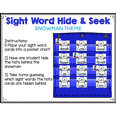 Sight Word Editable Hide & Seek Pocket Chart Cards | Snowman Theme