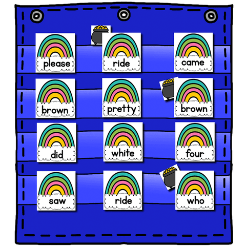 Sight Word Editable Hide & Seek Pocket Chart Cards | Rainbow Theme