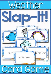 "This Weather Card Game is great for teaching kids weather words! Slap It! is based on the traditional card game ""Slap Jack"" and the kids LOVE slapping all the words and pictures as they learn about the weather!"