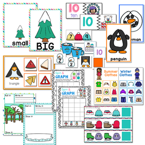 Preschool/ Pre-k Math & Literacy Centers | Winter Theme