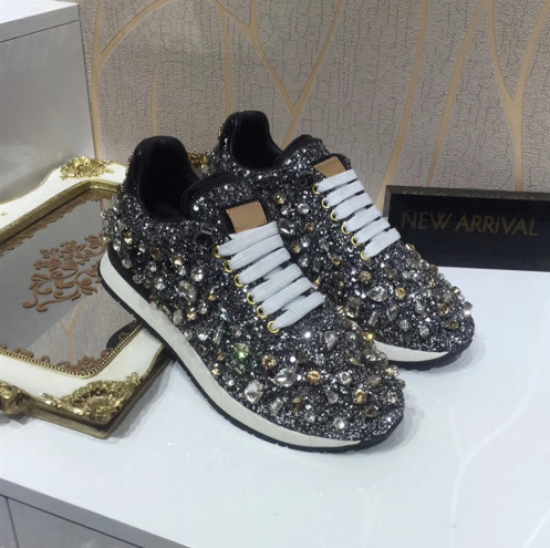 63d87cdd5b55 ... MStacchi New Luxury Rhinestones Sneakers Lace Up Flat Shoes Woman Bling  Mixed Color Crystal Paillette Cozy ...