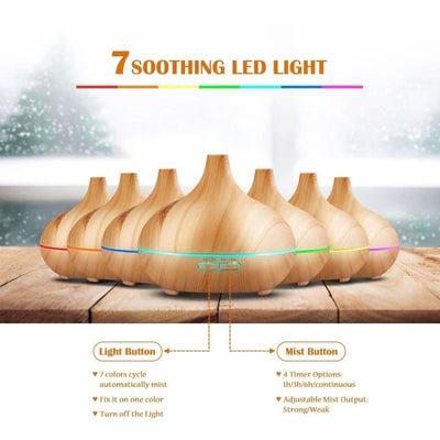 300Ml Cool Mist Humidifier Ultrasonic Aroma Essential Oil Diffuser - Bedroom Decoration