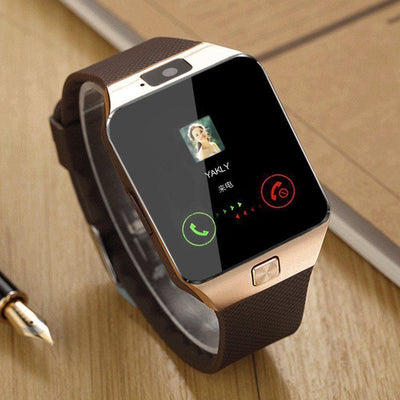 Bluetooth Smart Watch With Camera - Gold