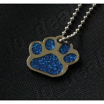 Glitter Paw Custom Pet Id Tags - Blue