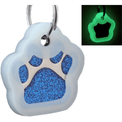Glitter Paw Custom Pet Id Tags - Blue + Silencer