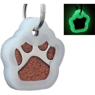 Glitter Paw Custom Pet Id Tags - Brown + Silencer