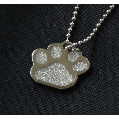 Glitter Paw Custom Pet Id Tags - Crystal Silver