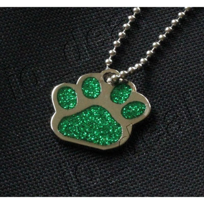 Glitter Paw Custom Pet Id Tags - Emerald Green