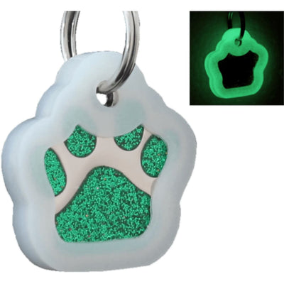 Glitter Paw Custom Pet Id Tags - Green + Silencer
