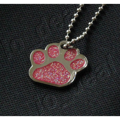 Glitter Paw Custom Pet Id Tags - Opal Rose