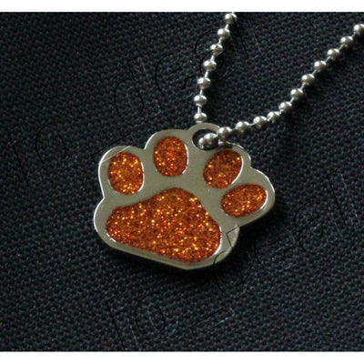Glitter Paw Custom Pet Id Tags - Orange